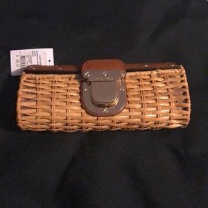 """Michael Kors Natural Leather Clutch Rattan 9.5""""NWT"""